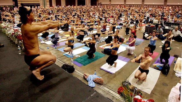 image of large bikram yoga class